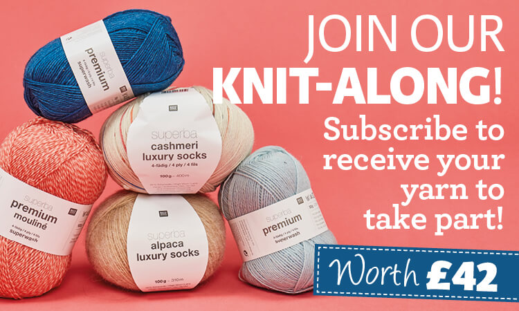 knit now subscription offer free yarn knit along KAL