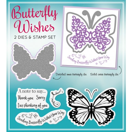 Die-cutting Essentials 20 - Butterfly Wishes nesting dies & co-ordinating stamps