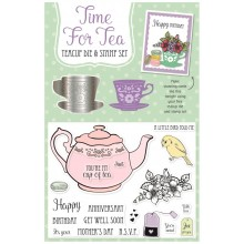 Simply Cards & Papercraft 159 comes complete with the exclusive Time for Tea teacup die and stamp set.