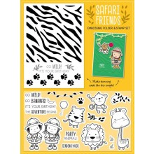 Free with issue 145 is the Safari Friends 2-in-1 embossing folder & 20-piece stamp set